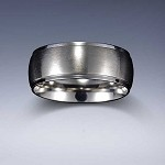 STYLE 4: Stainless Steel Tri-Band Brushed Dome Comfort Fit  Name Ring 8mm