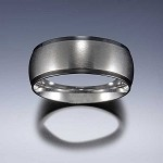 STYLE 4B: Stainless Steel Black Edge Comfort Fit Name Ring 8mm