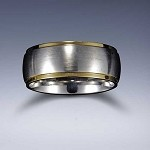 STYLE 4G: Stainless Steel Gold Tone Edge Comfort Fit Name Ring 8mm