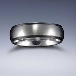 STYLE 6B: Stainless Steel Black Edge Comfort Fit Name Ring 6mm